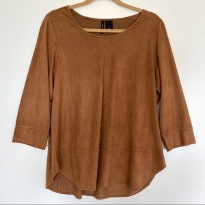 New Directions Brown Suede Top